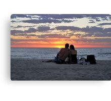 Romantic Couple At The Beach Canvas Print