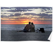 Romantic Couple At The Beach Poster