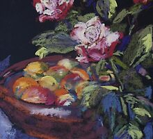 Redgum fruit bowl & roses by Terri Maddock