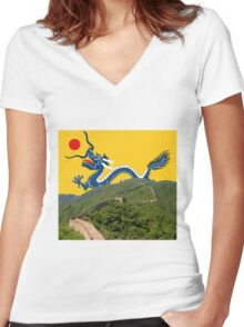 Great Wall Dragon 2 Women's Fitted V-Neck T-Shirt