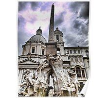 La Fontana dei quattro fiumi, Roma Poster