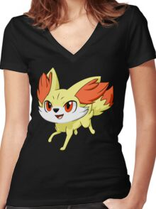 Pokemon Fennekin Women's Fitted V-Neck T-Shirt
