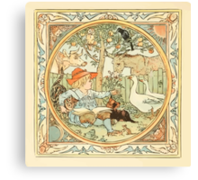 The Baby's Own Aesop by Walter Crane 1908-8 A Boy With Animals Canvas Print