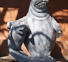 Manatee mom and baby statue by ♥⊱ B. Randi Bailey