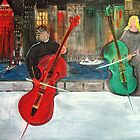 2 Cello Players /  Rooftop       (  My Paintings )  by Rick  Todaro