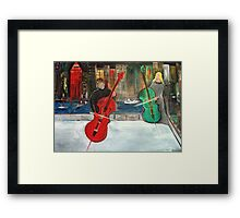 2 Cello Players /  Rooftop       (  My Paintings )  Framed Print