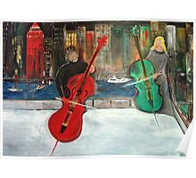 2 Cello Players /  Rooftop       (  My Paintings )  Poster