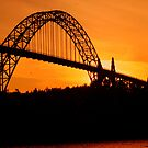 Yaquina Bay Bridge at Sunset by Randy Richards