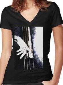 Jazz Bass Poster Women's Fitted V-Neck T-Shirt
