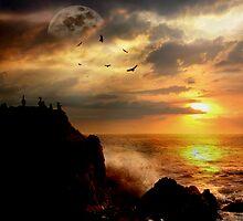 Moonrise Over Cormorant Rock by Voytek Swiderski