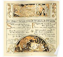 The Baby's Own Aesop by Walter Crane 1908-48 The Stag and the Ox, The Deer and the Lion Poster