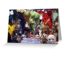 Feathery Masks Greeting Card