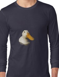 Close Up Portrait of A Cute Domestic White Duck Vector Style Long Sleeve T-Shirt
