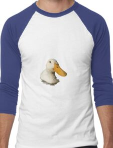 Close Up Portrait of A Cute Domestic White Duck Vector Style Men's Baseball ¾ T-Shirt