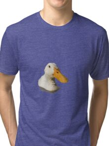 Close Up Portrait of A Cute Domestic White Duck Vector Style Tri-blend T-Shirt