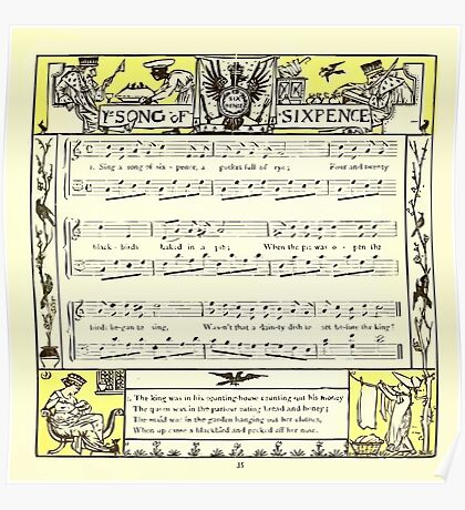 The Baby's Opera - A Book of Old Rhymes With New Dresses - by Walter Crane - 1900-39 Ye Song of Sixpence Poster