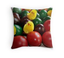 Colorful eggs and chicks Throw Pillow