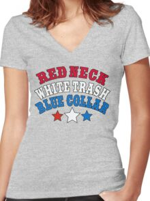 Red Neck White Trash Blue Collar Women's Fitted V-Neck T-Shirt