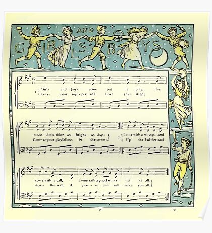 The Baby's Opera - A Book of Old Rhymes With New Dresses - by Walter Crane - 1900-13 Girls and Boys Poster