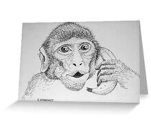 "Monkey on ""Phone"" Greeting Card"