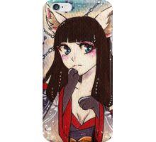 Japanese shy kitsune in kimono  iPhone Case/Skin