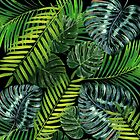 Jungle Tangle Green On Black by AllyNCoxon