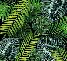 Jungle Tangle Green On Black by AllyNCoxon