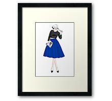 fashion illustration-woman in blue skirt Framed Print