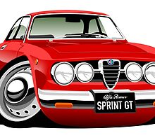 Alfa Romeo Sprint GTV caricature red by car2oonz