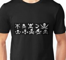 BLACK PIRATE BANNERS SKULL,CROSSED BONES,SWORDS Unisex T-Shirt