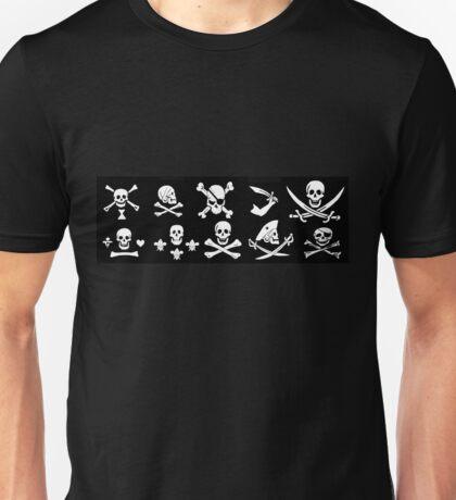 BLACK PIRATE BANNERS SKULL,CROSSED BONES,SWORDS Unisex T-Shirt