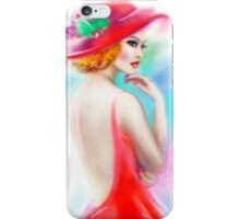 beautiful woman in red hat and a dress iPhone Case/Skin