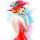 beautiful woman in red hat and a dress by Alena Lazareva