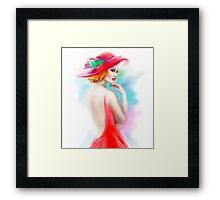 beautiful woman in red hat and a dress Framed Print
