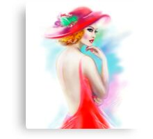 beautiful woman in red hat and a dress Canvas Print