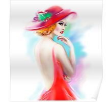 beautiful woman in red hat and a dress Poster