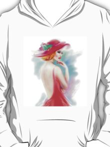 beautiful woman in red hat and a dress T-Shirt