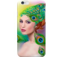 Beautiful Fashion spring woman face.Peacock  iPhone Case/Skin