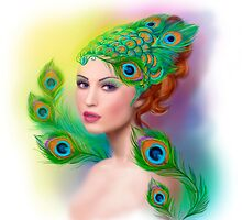 Beautiful Fashion spring woman face.Peacock  by Alena Lazareva