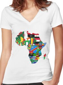 Africa flags Women's Fitted V-Neck T-Shirt