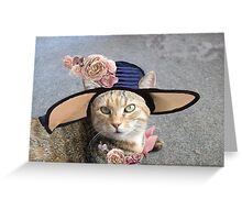 PRINCESS TATUS / ELEGANT CAT WITH DIVA HAT AND PINK ROSES  Greeting Card