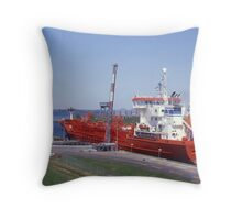 Ship Passing Through Locks On The St Lawrence Seaway, Ontario, Canada. Throw Pillow