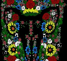 Goat's skull in Flowers by dani-lafez