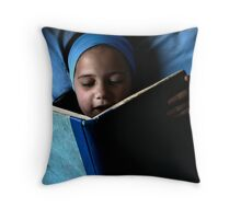 Bookworm in blue Throw Pillow