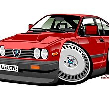 Alfa Romeo GTV6 red caricature by car2oonz