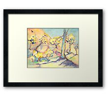 Blue and his Yellow Friends. Framed Print
