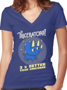 Triceratops 3 Times Better Than Unicorns Women's Fitted V-Neck T-Shirt