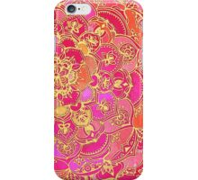 Hot Pink and Gold Baroque Floral Pattern iPhone Case/Skin