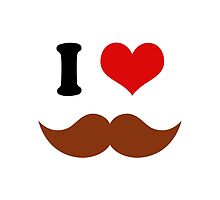 I Heart I Love Brown Mustaches by TigerLynx