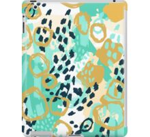 Silas - abstract print in mint, green, mustard navy iPad Case/Skin